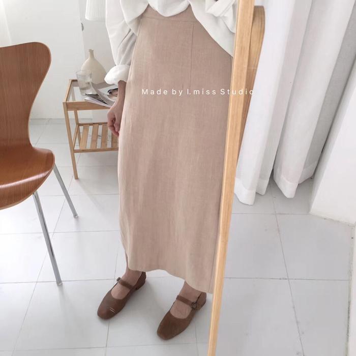 imiss夏季新款女装麻料文艺休闲半身裙中长款高腰裙子一步裙a字裙
