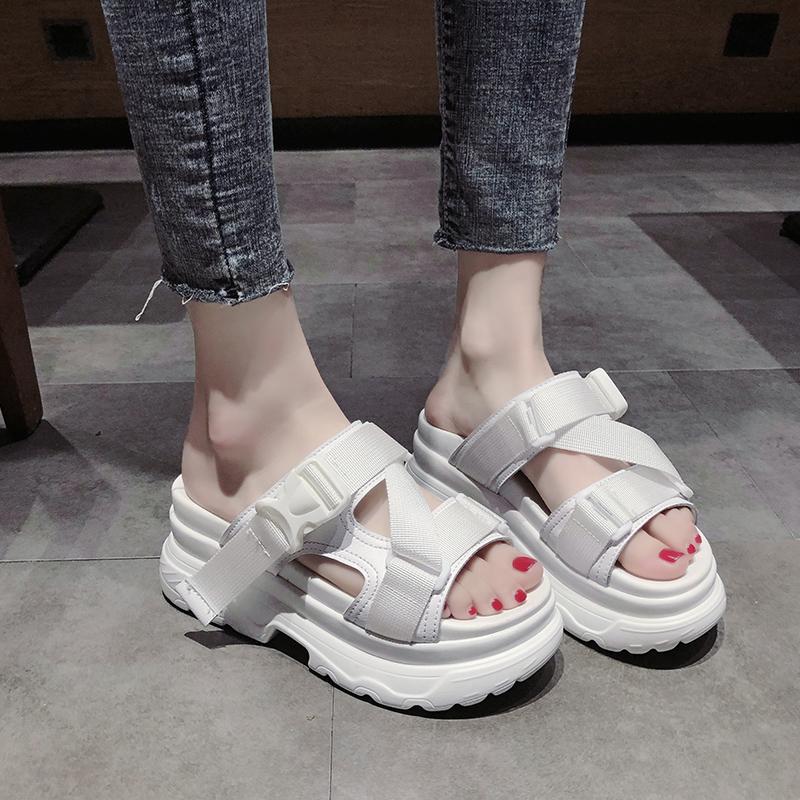 松糕厚底拖鞋女夏时尚外穿2020新款百搭网红一字拖休闲沙滩凉拖鞋