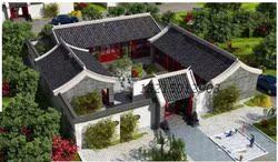 四合院建筑设计CAD施工图四合院景观建筑设计一层农村平房三合院