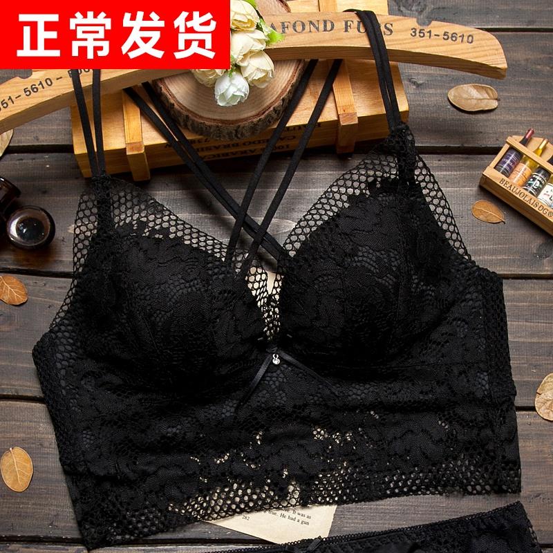 美背文胸聚拢性感蕾丝胸罩黑色交叉带露背套装夏薄款内衣女无钢圈