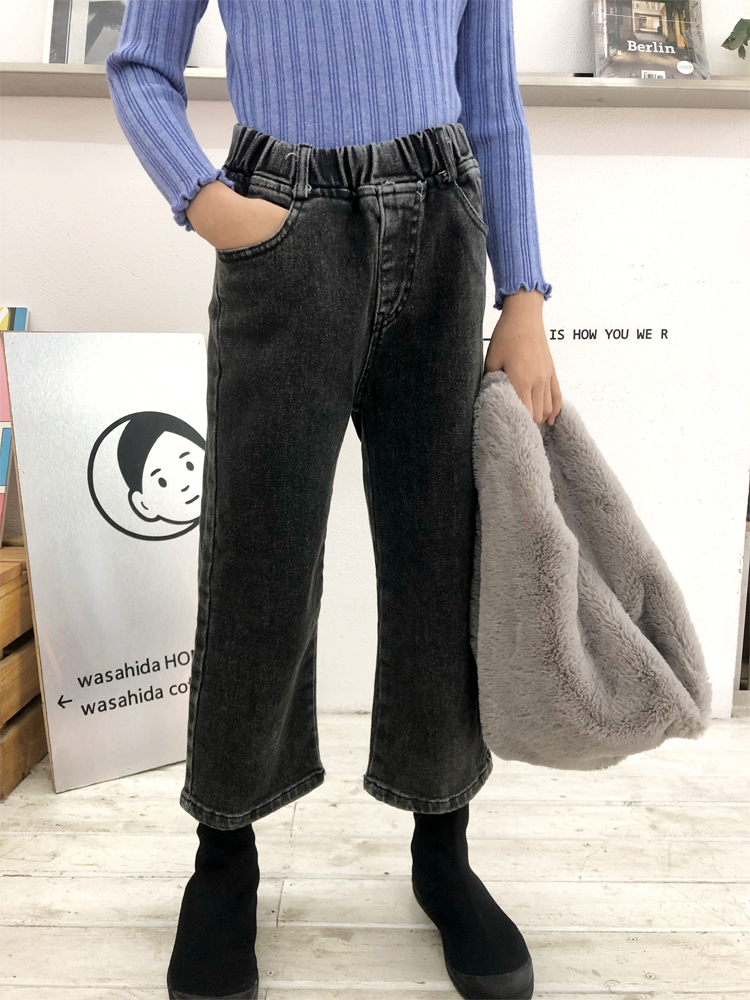 Girls Straight Jeans fall / winter 2019 new style loose and slim fit wide leg pants thin velvet smoke grey jeans