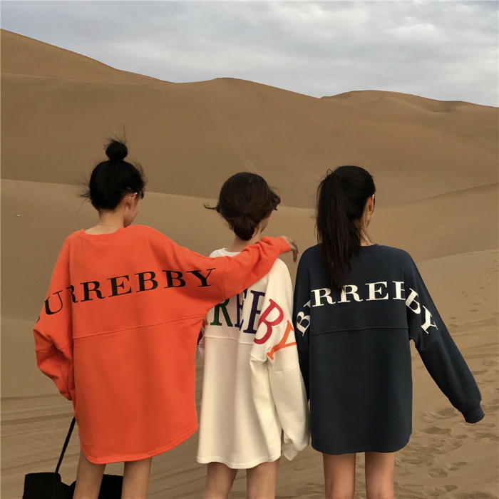 Spring and autumn 2020 girlfriends sisters sweater womens loose three people and four peoples funny mid long letter long sleeve top T