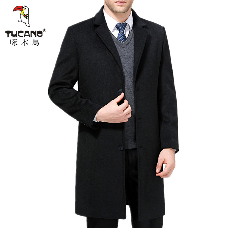 Woodpecker autumn and winter new middle aged and old cashmere coat mens thickened windbreaker middle and long fathers woollen coat