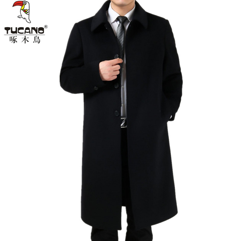 Woodpecker autumn and winter clothes middle aged and old peoples woolen coat mens thickened cashmere warm windbreaker knee length coat