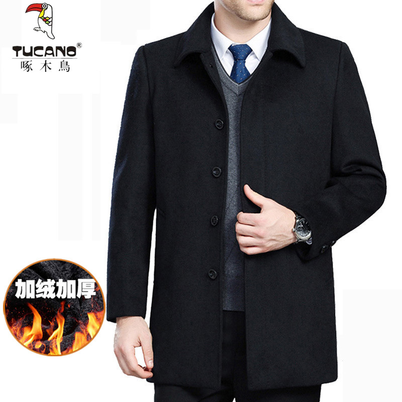 Woodpecker autumn and winter clothes middle aged and old peoples woolen coat mens thickened cashmere windbreaker medium long loose coat fathers dress