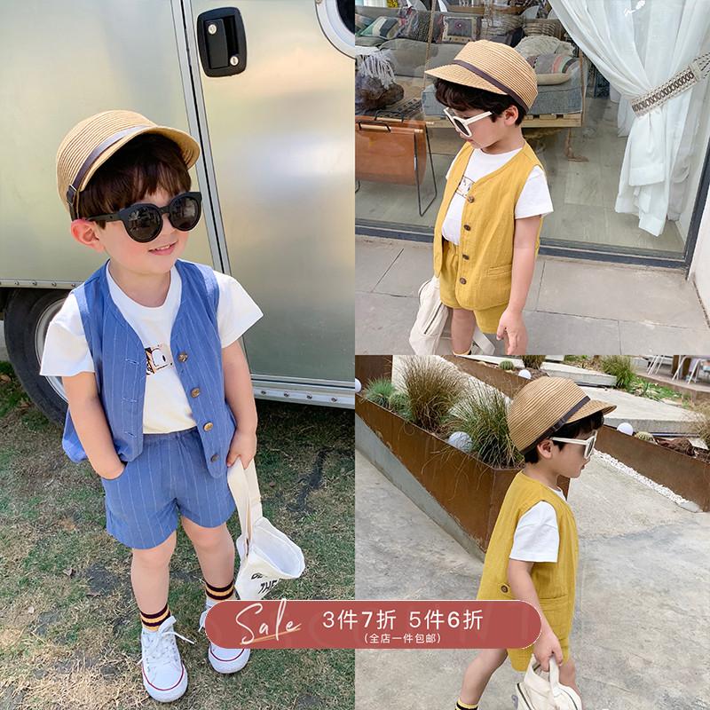 10月21日最新优惠ivan家童装男童夏季套装儿童绅士西装马甲男宝宝夏装礼服两件套
