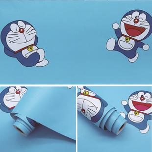 卡通大胖背胶墙纸男孩房间叮当猫蓝色动漫海绵宝宝壁纸pvc幼儿园