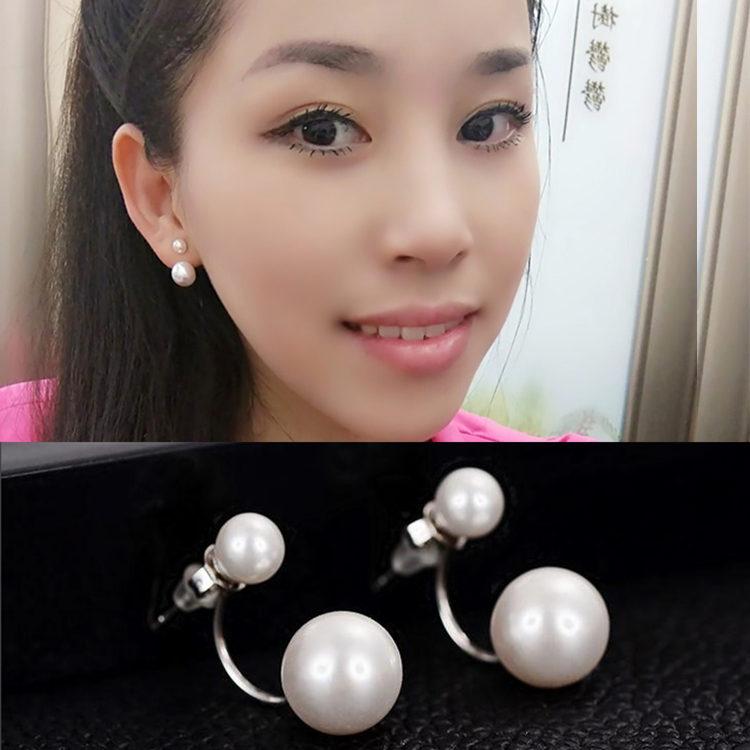 韩国s925纯银珍珠耳钉女款宋慧乔同款双面大小耳环防过敏气质耳饰