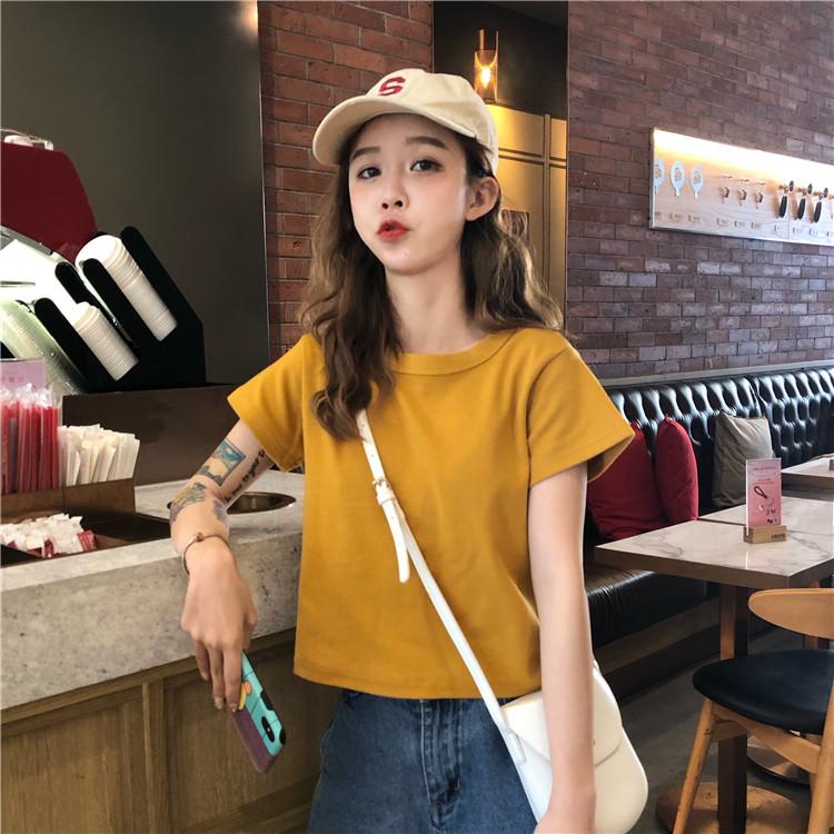 包邮2019新款韩版短袖网红上衣超火cec纯色修身短款短袖T恤女夏ins潮