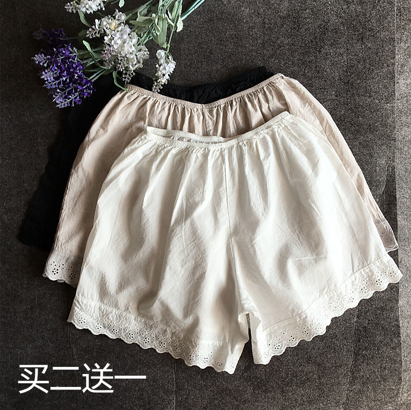 Flowergirl basic lace bottom anti light safety pants pure cotton shorts for women