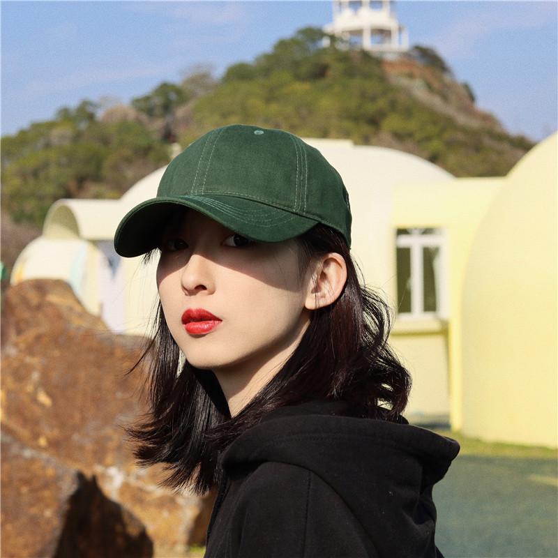 【绿萤】经典款深草绿软顶棒球帽纯色百搭美式光板鸭舌帽子女遮阳