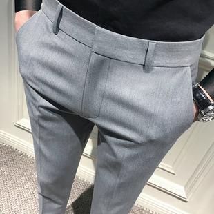 夏季九分裤男修身休闲裤韩版9分小脚裤新款西装裤子男士灰色西裤