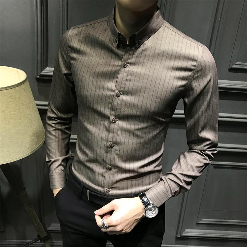 11月12日最新优惠免烫长袖韩版潮流条纹修身秋季衬衫