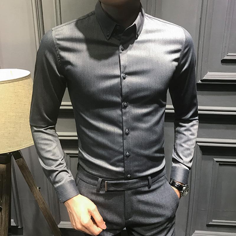 2019新款秋季长袖衬衫男时尚帅气修身黑色衬衣男英伦韩版潮流加绒(非品牌)