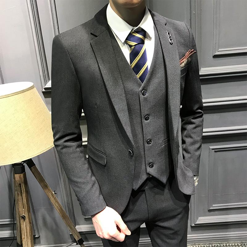 休闲西装男套装帅气新郎结婚礼服男伴郎服装男韩版外套修身三件套