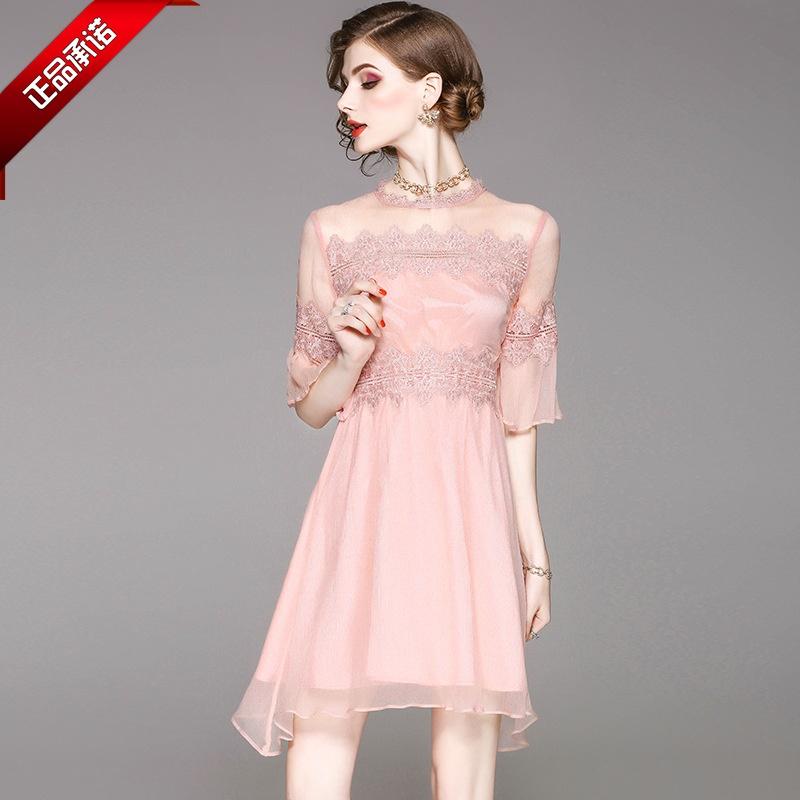 专柜正品牌女装MaxMara连衣裙代购夏季新款2018修身蕾丝短款拼接