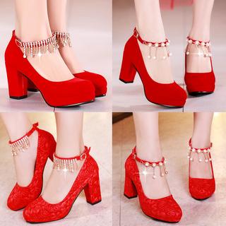 新娘鞋女红色2021年新款结婚鞋粗跟敬酒鞋防水台高跟鞋中式婚礼鞋