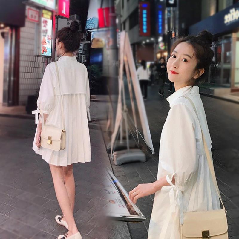 孕妇衬衣夏季韩版中长款宽松时尚短袖工装孕妇白色衬衫职业连衣裙