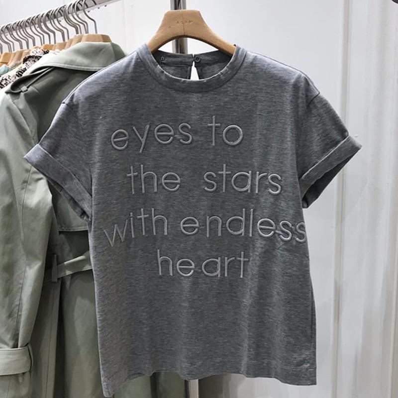 VIN 夏季新款圆领短袖刺绣字母休闲T恤宽松韩版女 纯色灰色T恤女