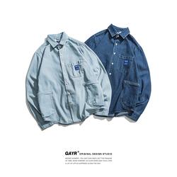 春秋季美式休闲牛仔衬衫男长袖宽松日系复古潮流外穿牛仔衣外套