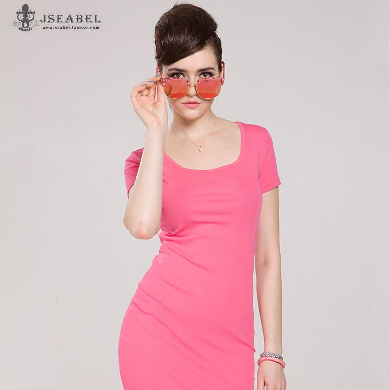 糖果色韩国时尚短袖修身包臀连衣裙夏季中裙短裙显瘦气质女包臀裙