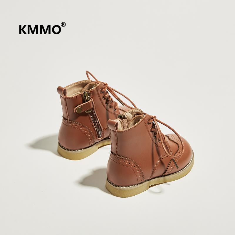 KMMO童鞋女童马丁靴英伦风秋冬真皮宝宝马丁靴小童单靴儿童短靴子淘宝优惠券