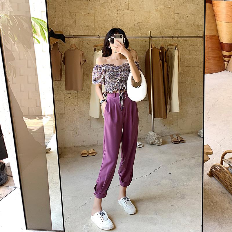 大码女装2020年夏新款哈伦裤套装胖妹妹mm时髦洋气减龄显瘦两件套