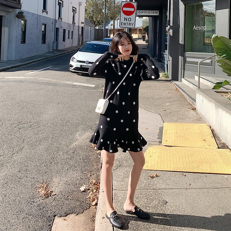 大码女装2019秋装新款波点mm连衣裙满999.00元可用841元优惠券