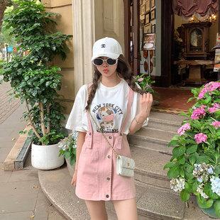 2021夏季新款大码女装盐系炸街裙子胖妹妹mm减龄甜美背带裙套装女