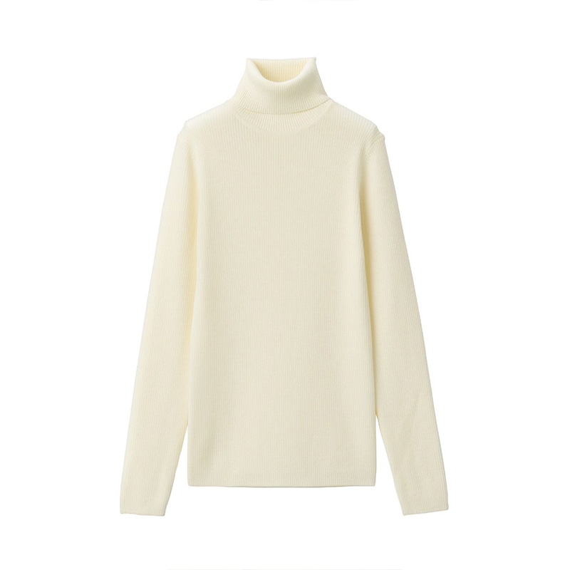 MUJI women's neck pain relief rib high neck sweater