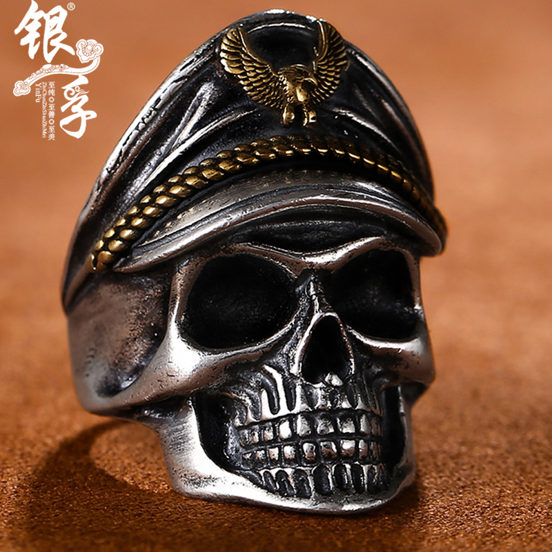 Silver Futai SILVER RING MENS 925 silver retro skeleton ring personality domineering mouth undead Legion punk ring
