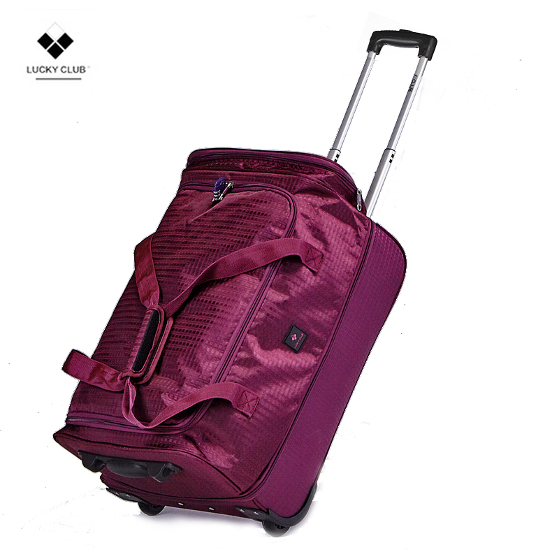 Lucky Club Pull-rod Backpack Travel Bag Female Man Hand-held Canvas Short-distance Super-large Capacity Suitcase Shoulder Luggage Bag