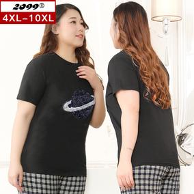 新款加肥版加大码女装特大号t恤衫
