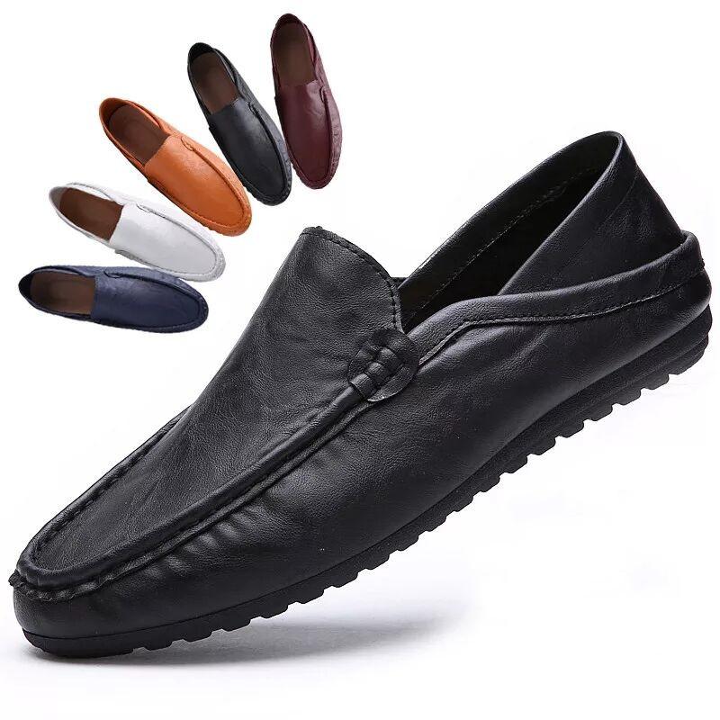 夏季新款男士英伦套脚休闲鞋驾车皮鞋豆豆鞋一脚蹬懒人男鞋子单鞋