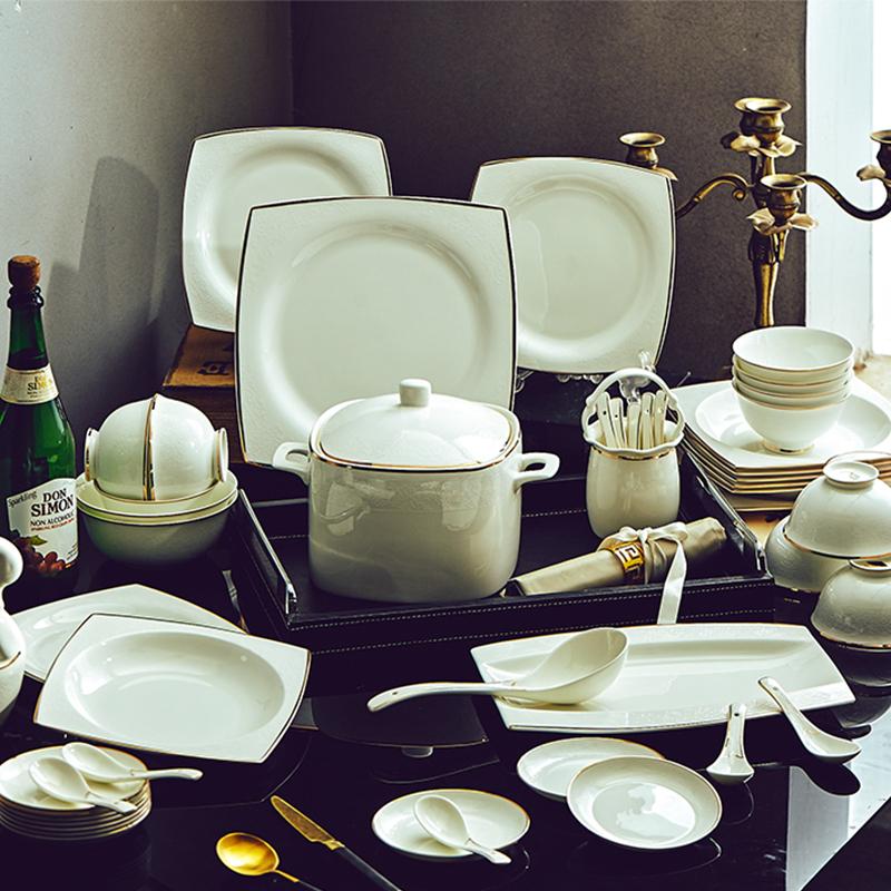 碗碟套装吃饭套碗盘子家用欧式简约瓷碗景德镇陶瓷器骨瓷组合餐具