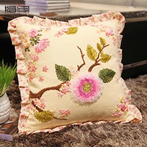 指间丝带绣抱枕客厅卧室书房车枕印花十字绣套件花卉DIY抱枕靠垫