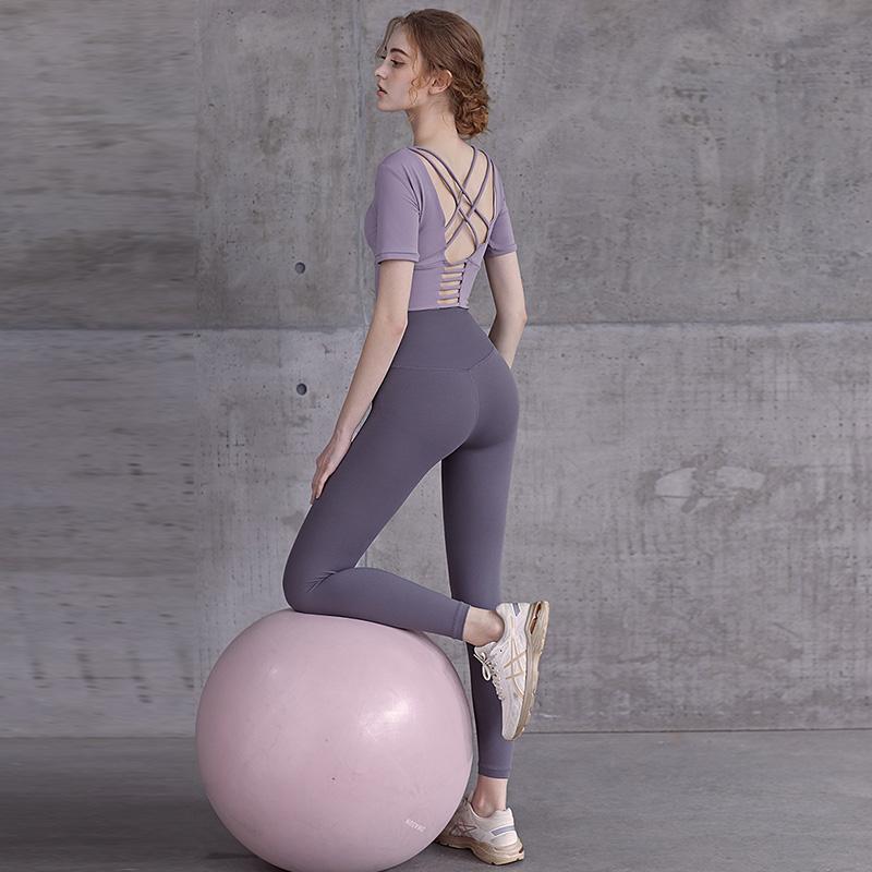 瑜伽服女夏季薄款外穿紧身运动套装高腰提臀跑步夏天蜜桃臀健身裤