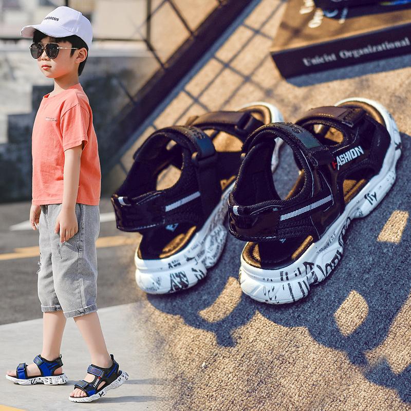 男童凉鞋2019新款韩版夏季真皮中大童儿童软底防滑沙滩鞋学生童鞋