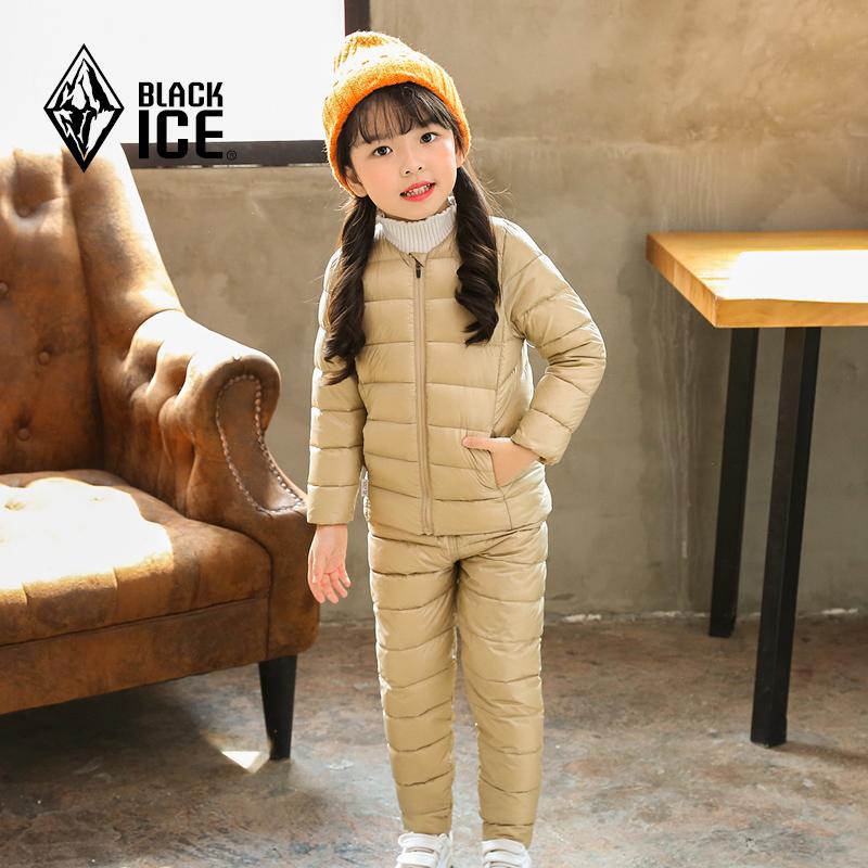 黑冰宝宝冬季保暖羽绒内胆套装男童女童轻量收腿羽绒裤儿童羽绒服