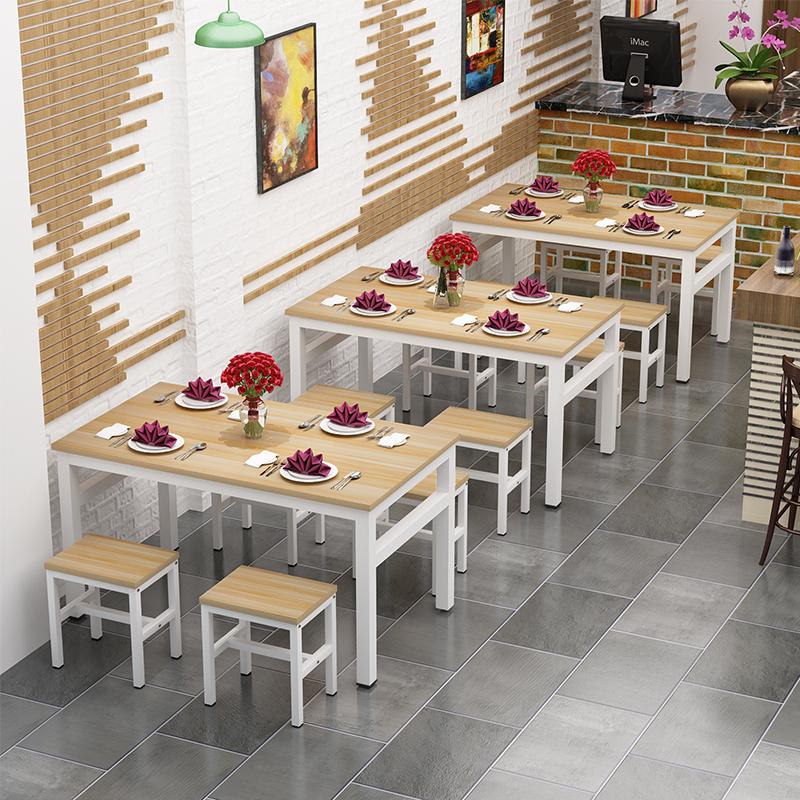 餐桌小吃店食堂饭店快餐桌椅大排档餐馆餐桌椅家用小方凳组合定制