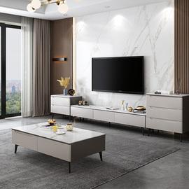 意式极简电视柜茶几组合套装现代简约客厅小户型岩石地柜储物柜子