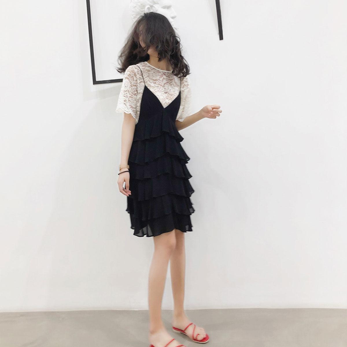 春装2020新款女装大码胖妹妹夏季洋气遮肉显瘦吊带裙两件套装减龄图片
