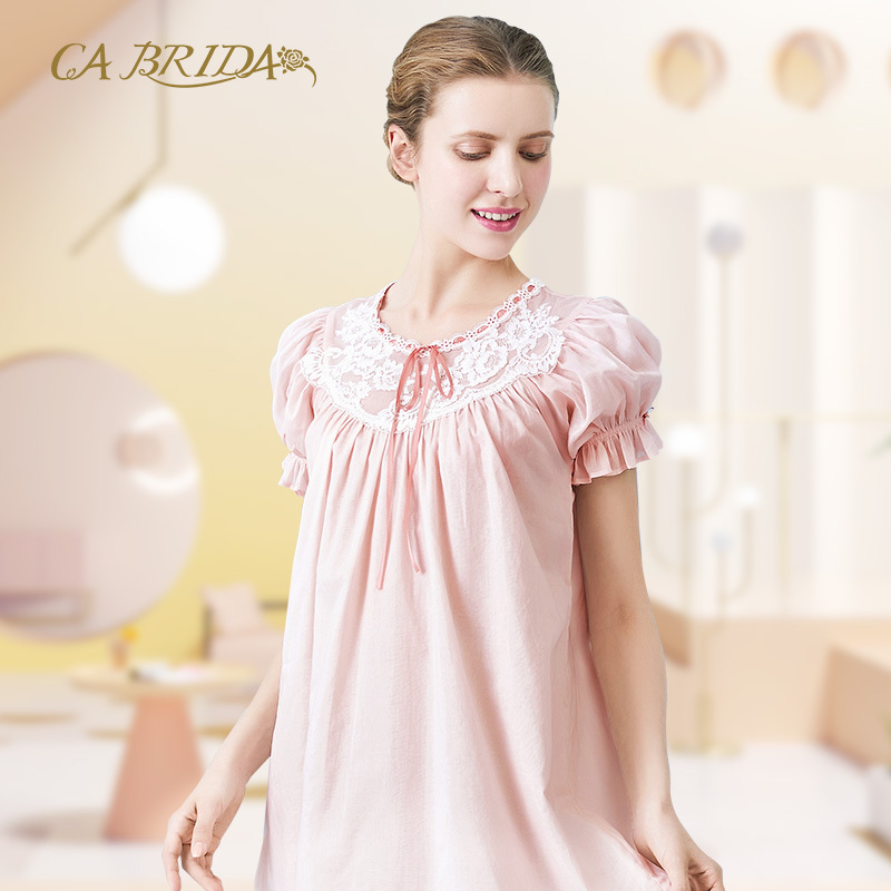 CA BRIDA睡裙女夏季睡衣短裙甜美清新外穿短袖可爱睡衣CHS4B326C1,可领取200元天猫优惠券