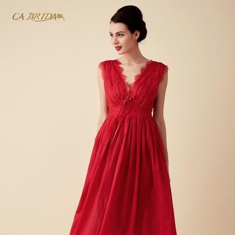 CA BRIDA 红色复古风新娘无袖睡裙CGW4B812C2,可领取300元天猫优惠券