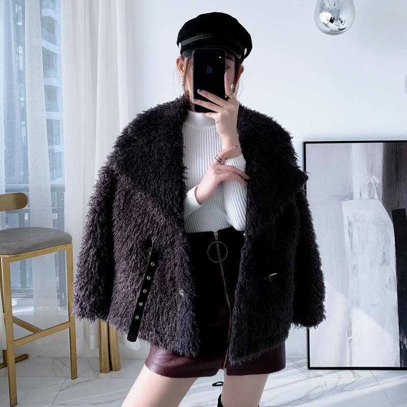 Cashmere celebrity coat womens short style new Korean loose fur one piece Lamb Fur grass coat in winter 2019