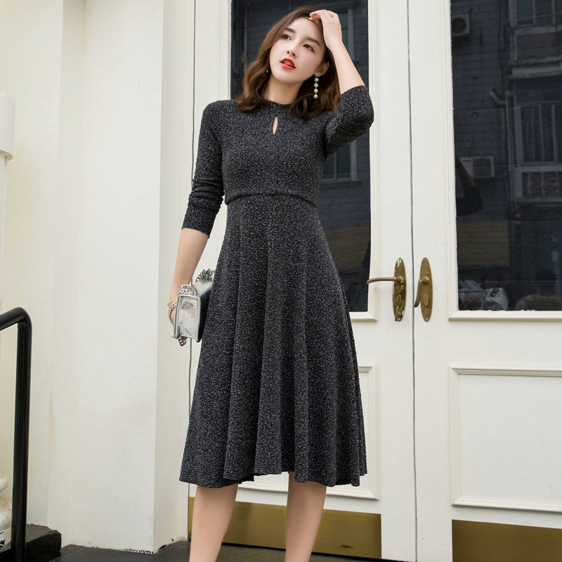 Cut size discount autumn new womens elegant Korean medium length long sleeve slim Pleated Dress Sequin