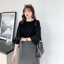 采多宝大码女装胖妹妹2020年春装新款韩版镂空花性感洋气显瘦T恤