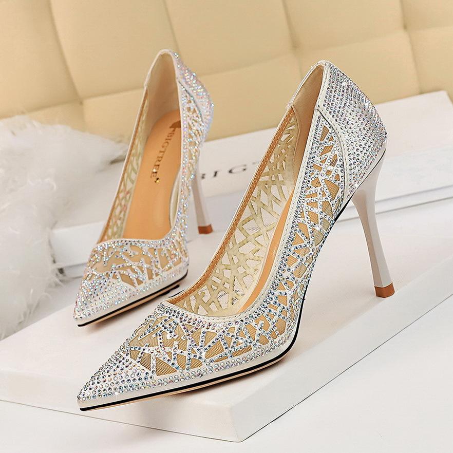 Pointed womens single shoes 1236-1 high heel fashion hollow sexy shallow mouth thin mesh Rhinestone banquet shiny Korean version