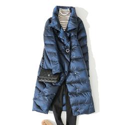 2020年新款冬韩版高领白鹅绒羽绒服女中长款时尚显瘦立领亮面外套