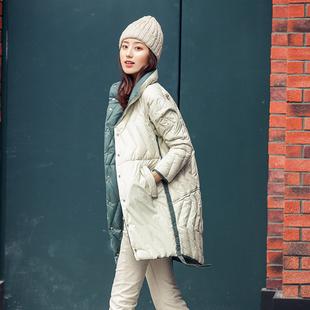韩版 外套时尚 两面穿白鸭绒女士中长款 轻薄羽绒服女2019年新款 爆款